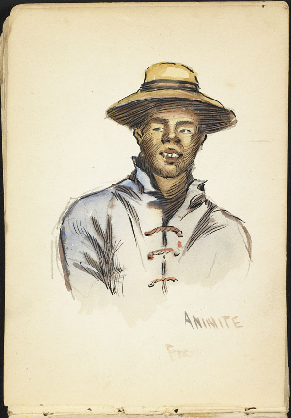 Man wearing a blue shirt and a wide-brimmed hat, French Flanders