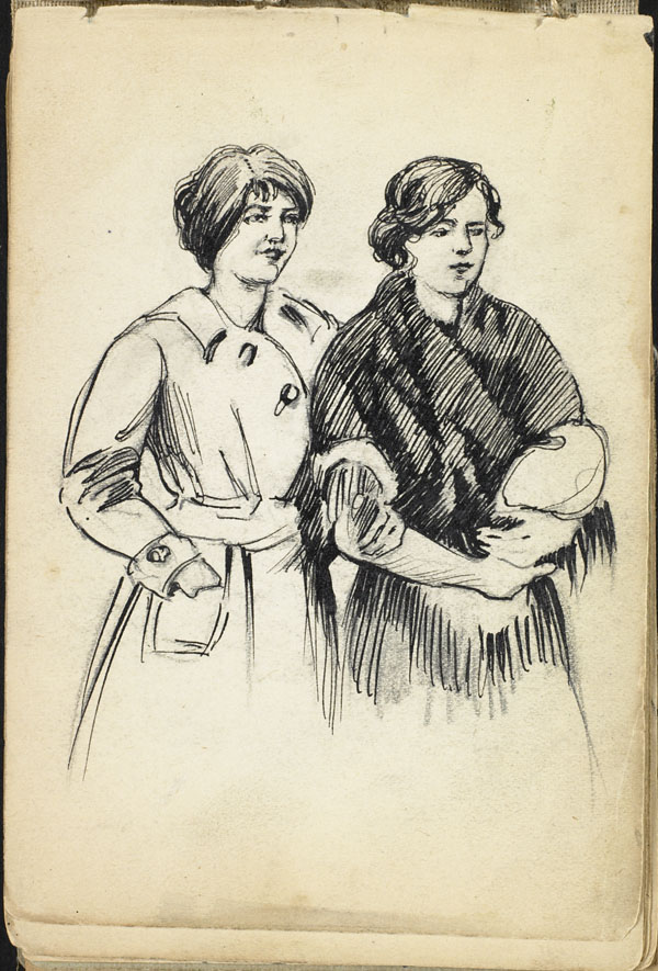 Two women, arm in arm, French Flanders