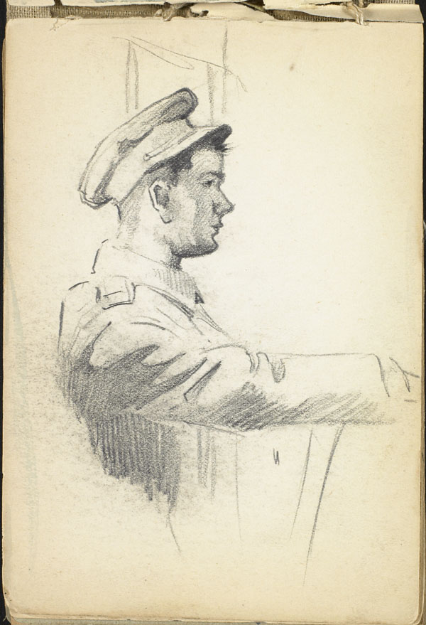 Soldier, seated and leaning on his arm. French flanders