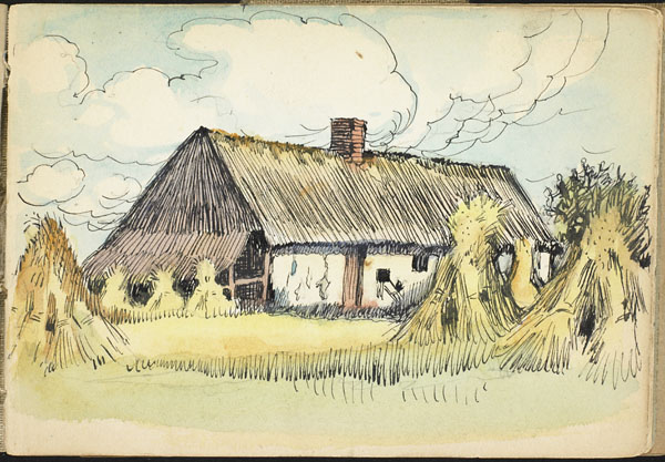 Haystacks and thatched building, French Flanders