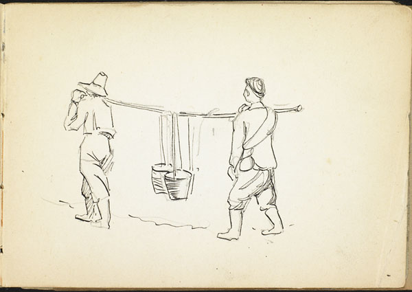 Two men carrying buckets with a shoulder pole, French Flanders