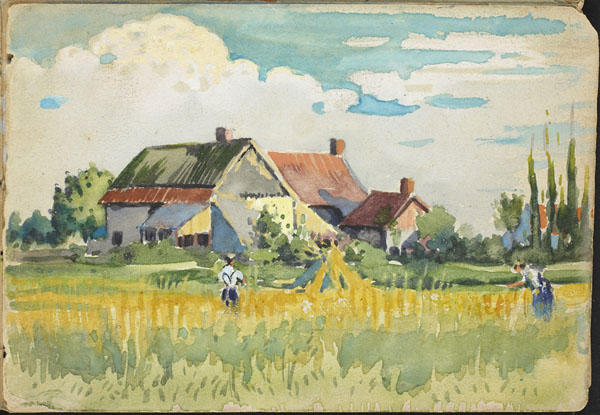 Rural landscape with peasants working in the fields, French Flanders