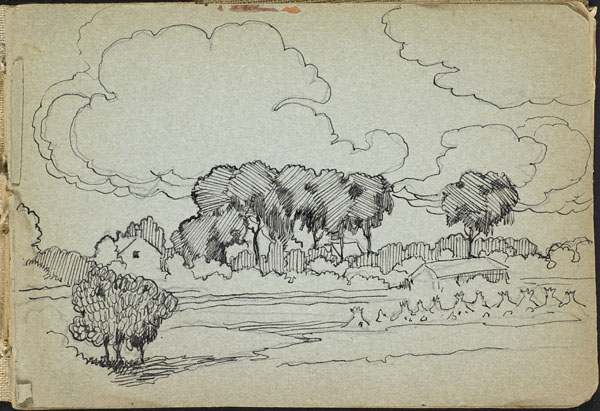 Landscape with trees, haystacks, and buildings, French Flanders