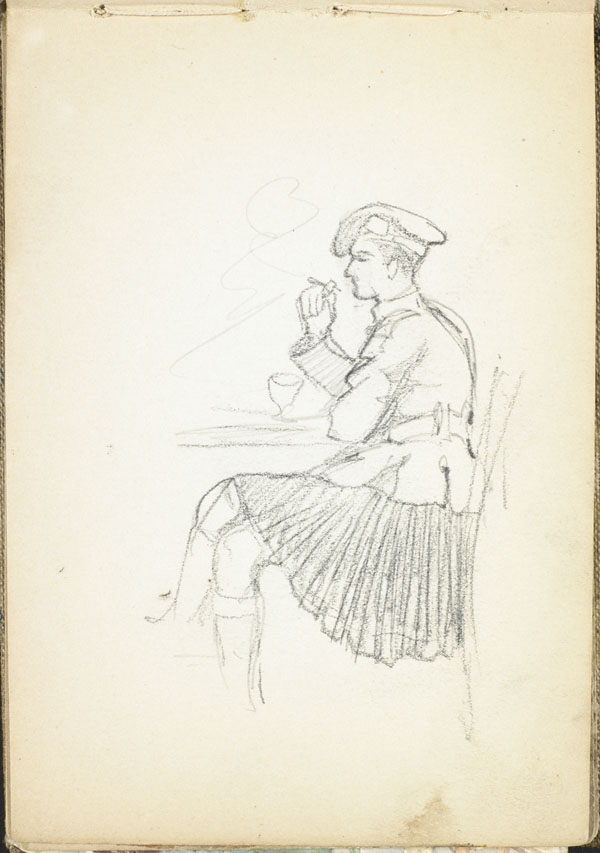 Soldier from a Highland regiment having a drink and a cigarette, Pas-de-Calais