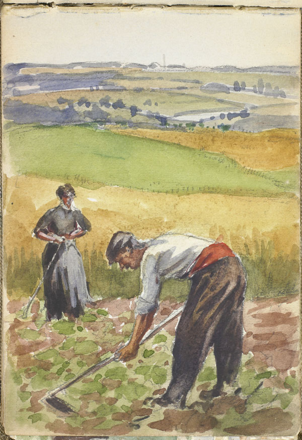 Two peasants tending a field, Pas-de-Calais