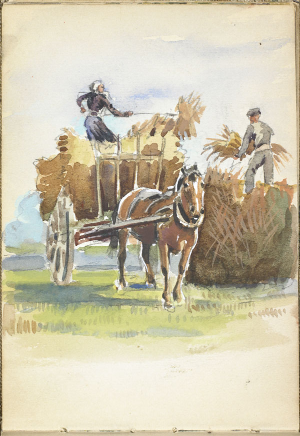 Peasants haying with a horse and cart, Somme (e008315377)