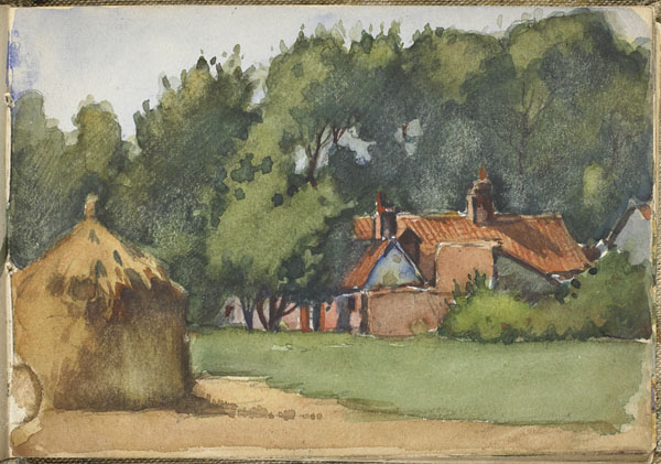 Landscape with a haystack and buildings, Somme