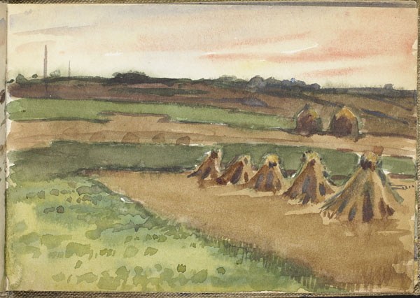 View of farm land with seven haystacks, Somme
