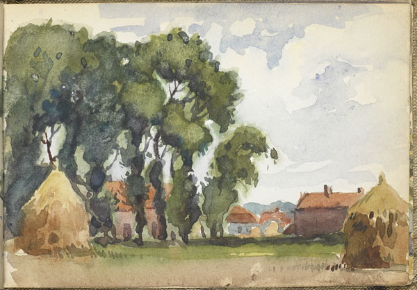 View of a hamlet from the haystacks in the fields, Somme (e008315381)