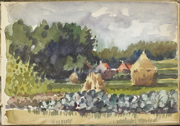 Landscape with haystacks, a stone fence and buildings, Somme