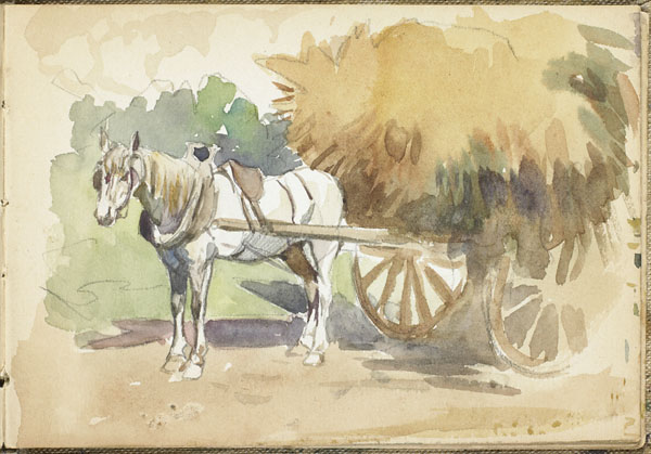 Horse drawn farm wagon filled with hay, Somme