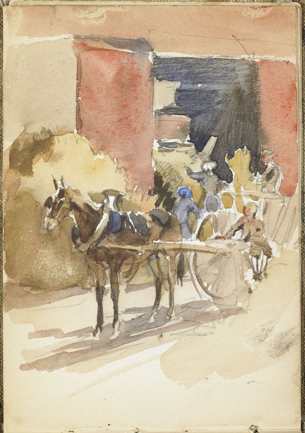 Horse drawn wagon at a hay barn, Somme