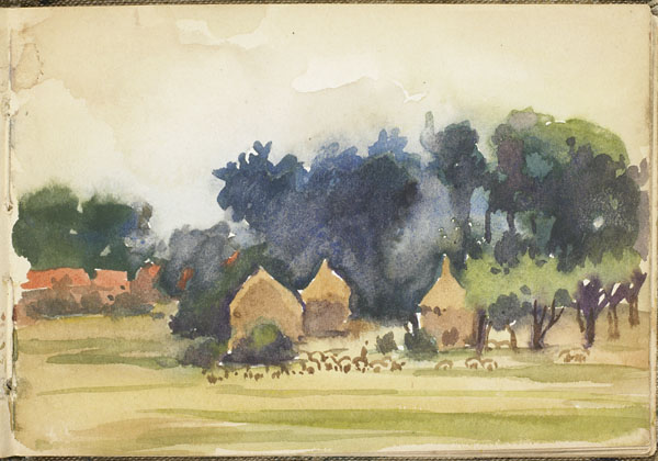 Landscape with haystacks, trees, and buildings in the distance, Somme