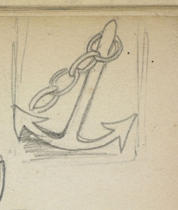 Boat anchor and costume studies (detail of the anchor)