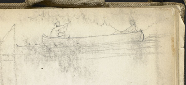 Two studies: archway of the Wimereux Viaduct, and two boaters in a small craft (detail of the two boaters)