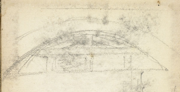 Two studies: archway of the Wimereux Viaduct, and two boaters in a small craft (detail of the viaduct)