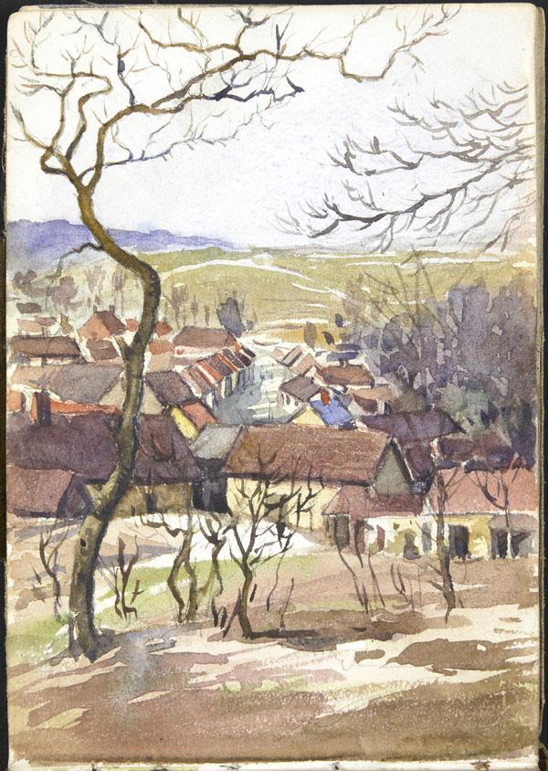 Vue d'un village dans une vallée, Somme