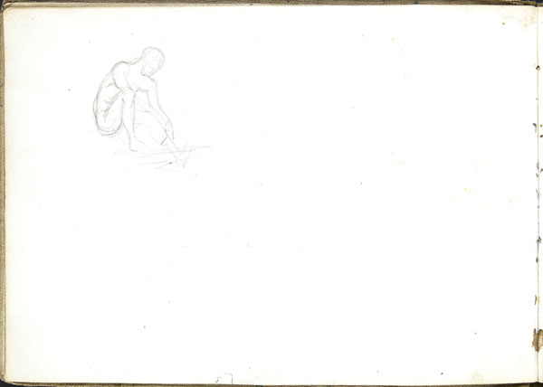 Outline sketch of a seated, male figure