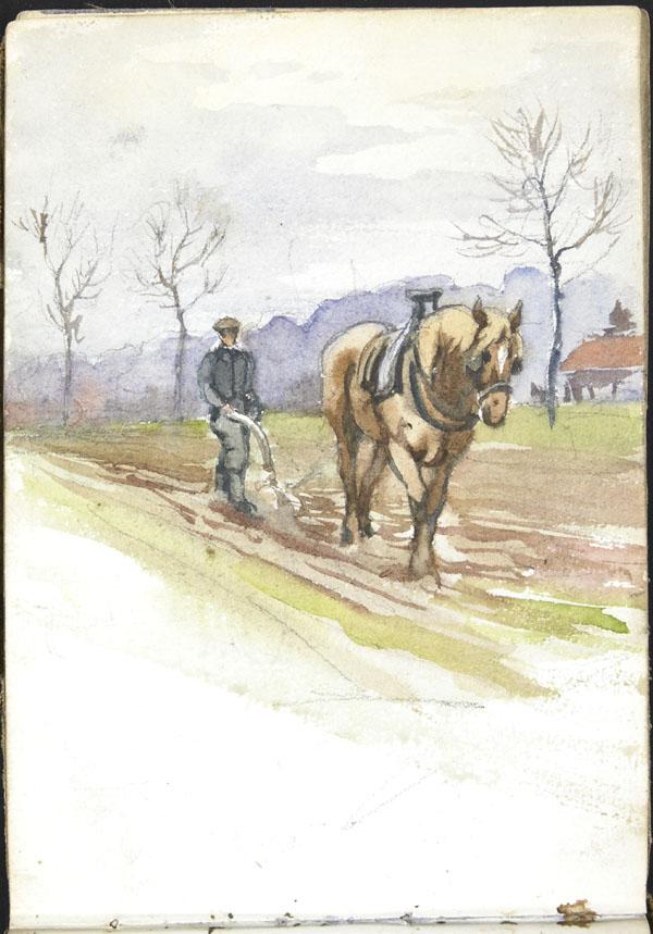 Homme faisant les labours avec une charrue et un cheval, Somme