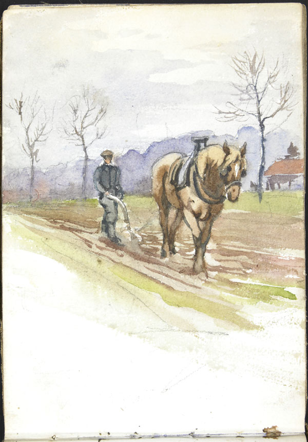 Man leading a horse-drawn plough through a field, Somme