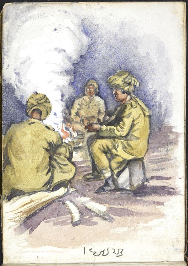 Trois soldats de l'Armée indienne assis autour d'un feu, Somme