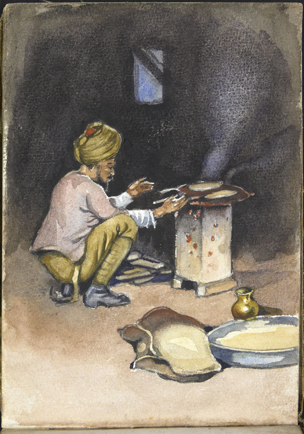 Soldier of the Indian Army preparing a meal, Somme