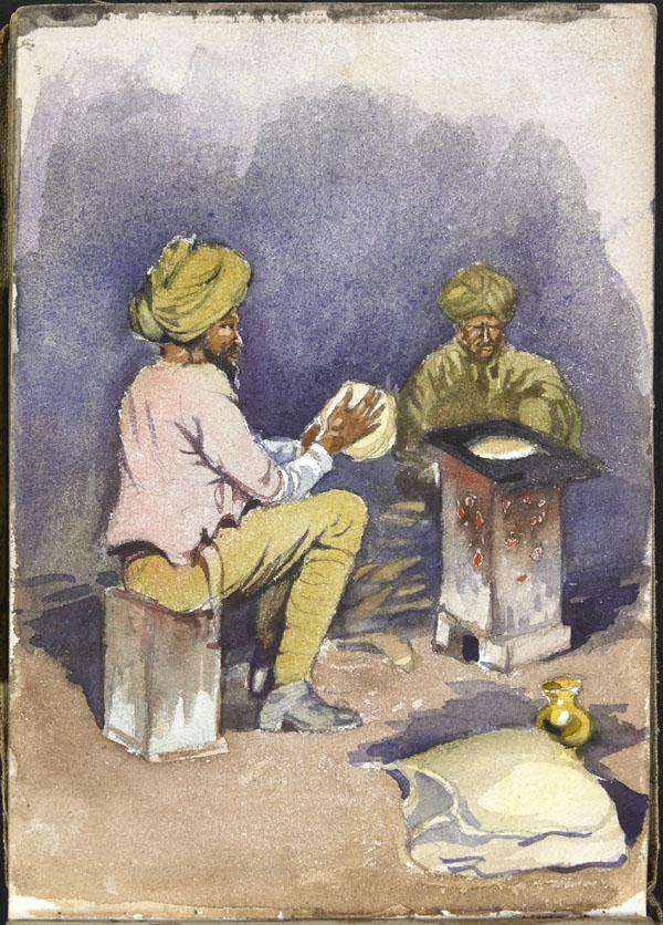 Deux soldats de l'Armée indienne préparant le repas, Somme