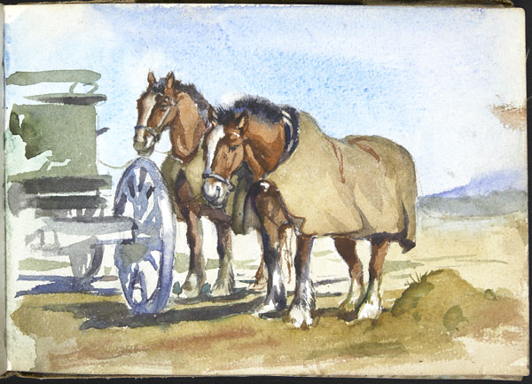 Two horses, wearing horse blankets, standing beside their carriage, Somme