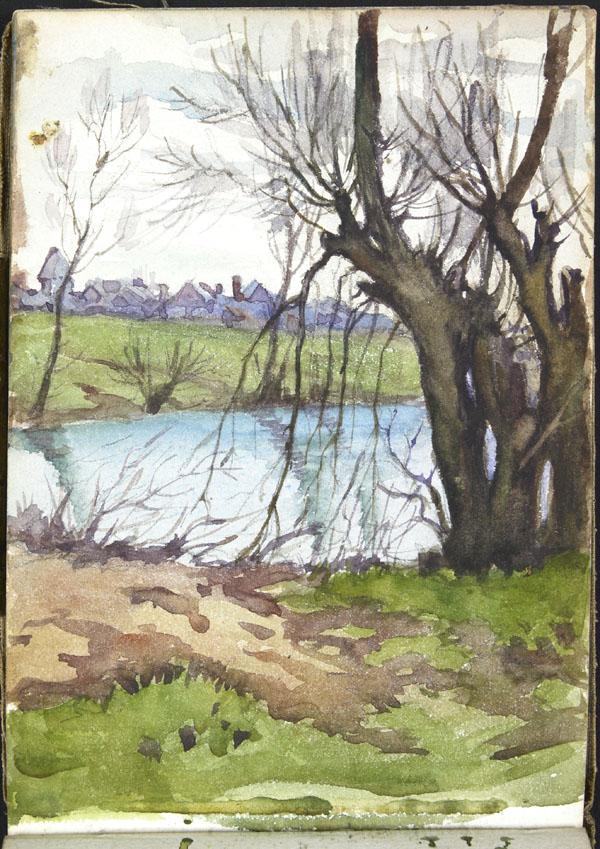 Vue d'un village depuis une rivière, Somme (e008315408)