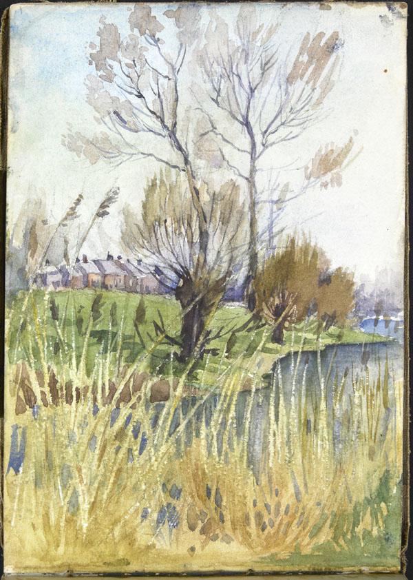 Vue d'un village depuis une rivière, Somme (e008315410)