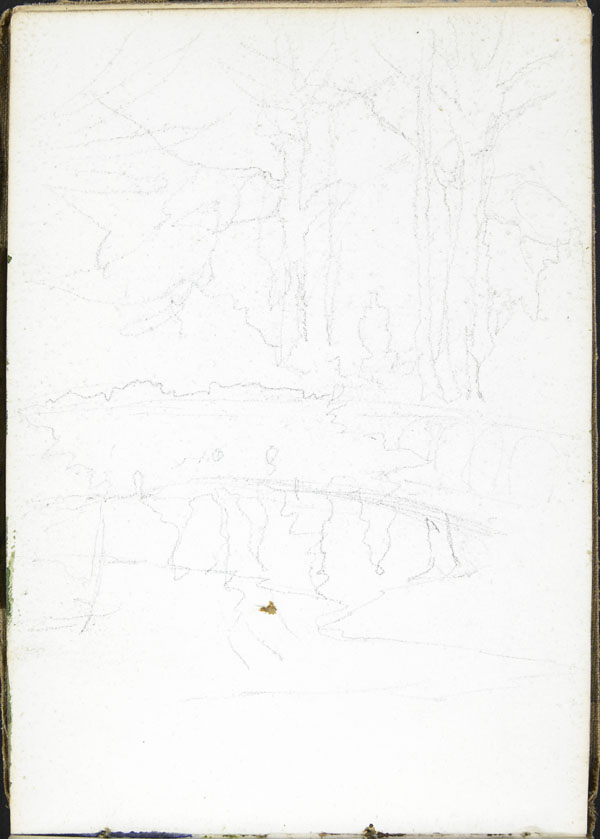 Landscape with river, bridge and creeping vines, Candas