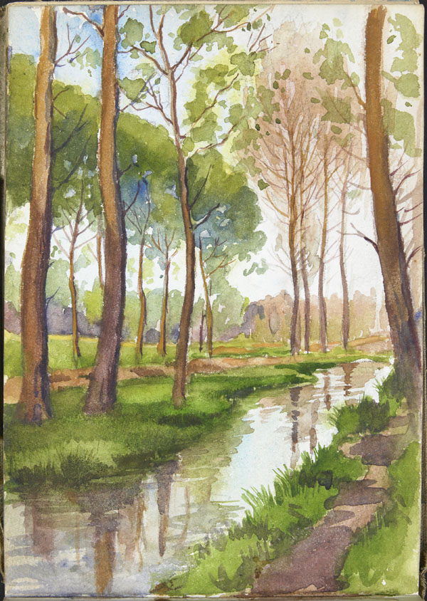 View of a narrow river lined with trees, Somme