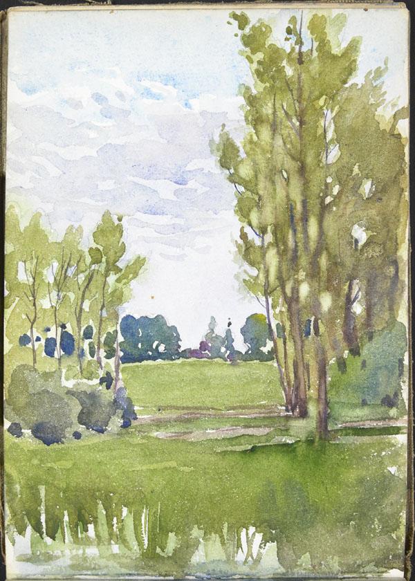 Paysage aux grands arbres élancés, Somme