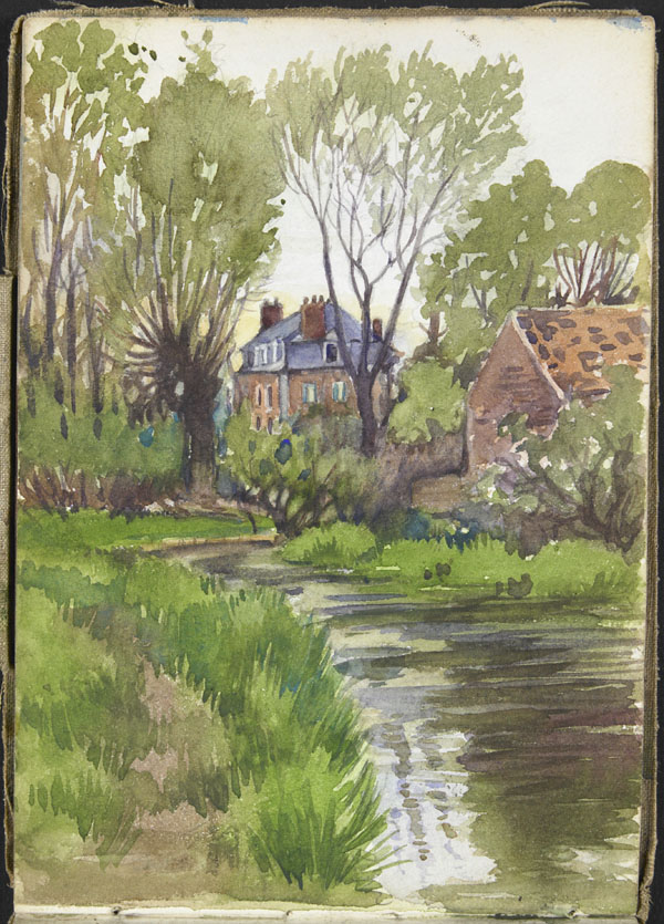 Landscape with river, trees, and two buildings, Somme