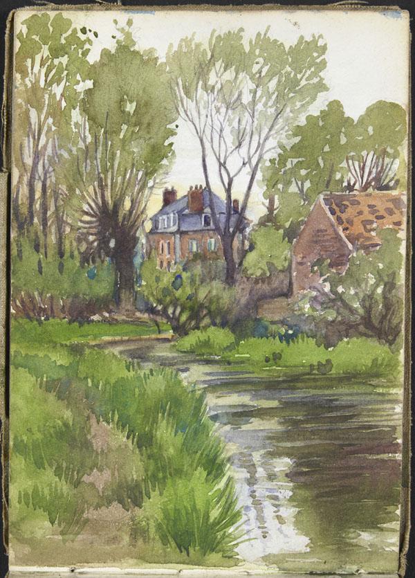 Paysage avec rivière, arbres et deux bâtiments, Somme