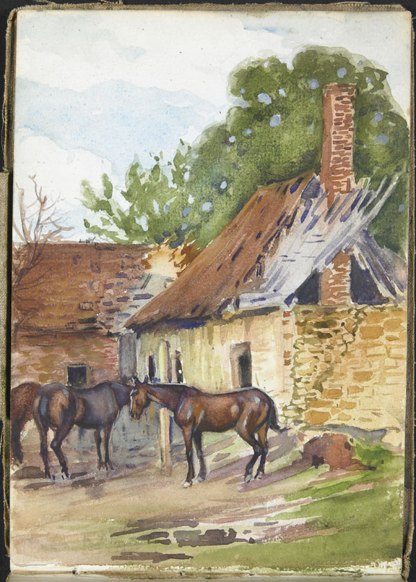 View of two horses in front of two damaged buildings, Somme