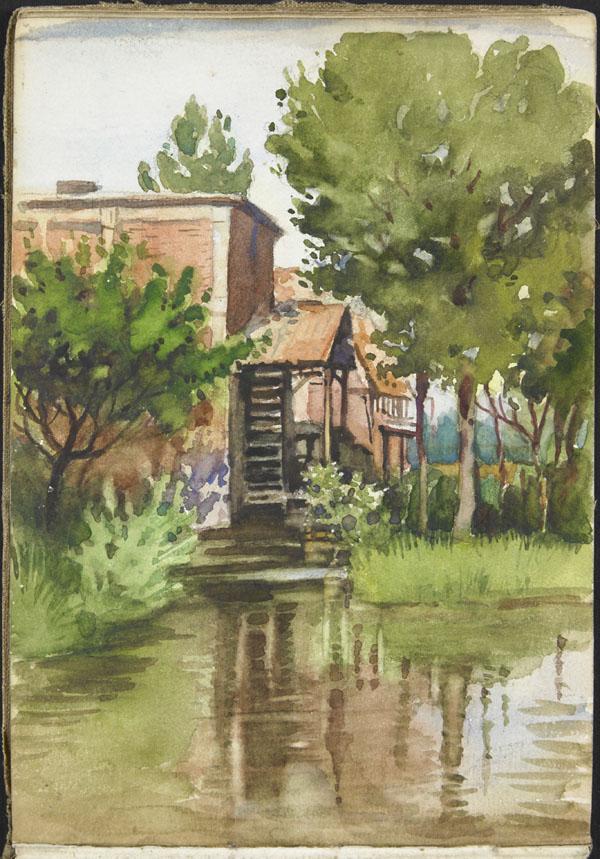 Vue d'un moulin au bord d'une rivière, Somme