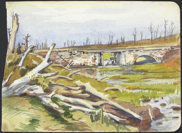 War-torn river landscape with shelled bridge, Belgium