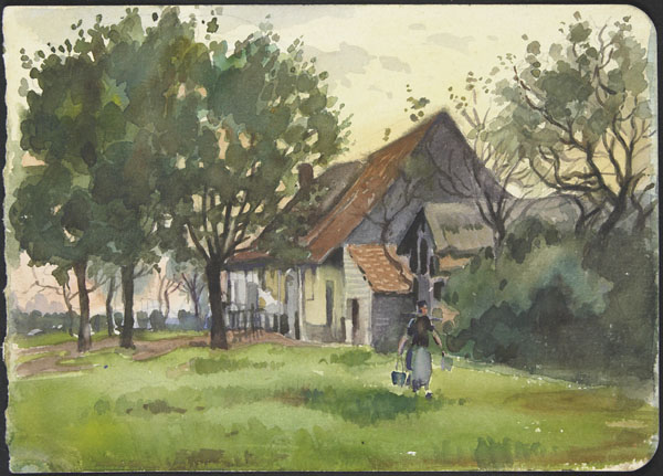 View of a rural home, surrounded by trees, with an woman carrying buckets in the foreground, France