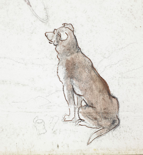 Brown dog and rats (detail of the dog)