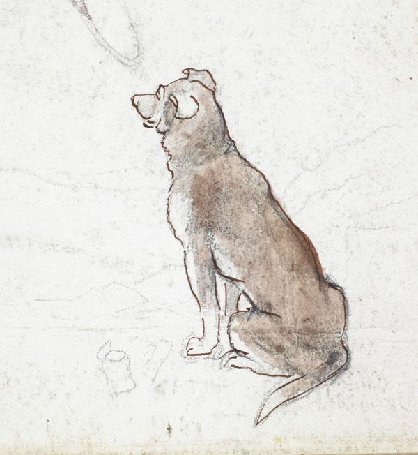 Chien brun et rats (détail du chien)