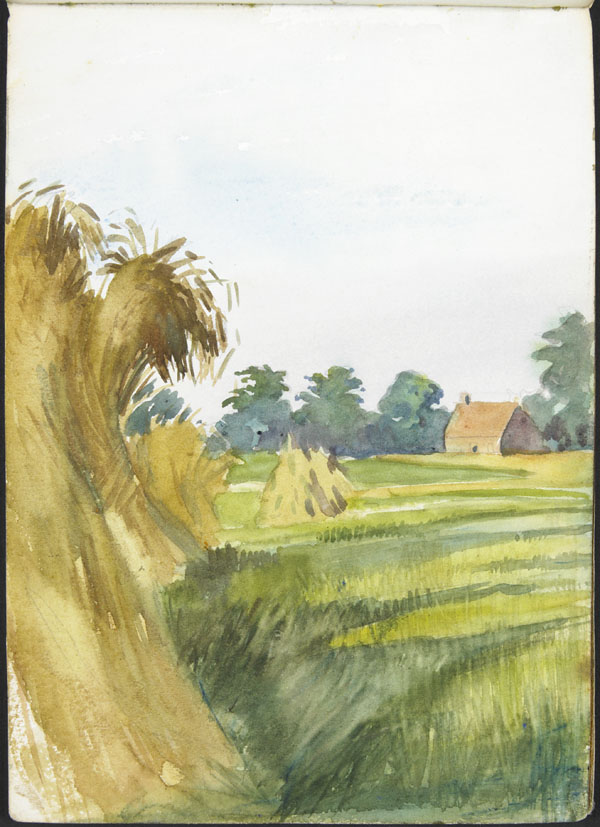 Landscape with haystacks and a barn