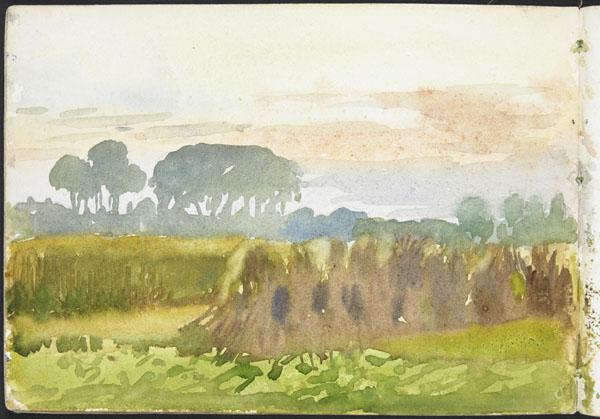 Landscape with haystacks