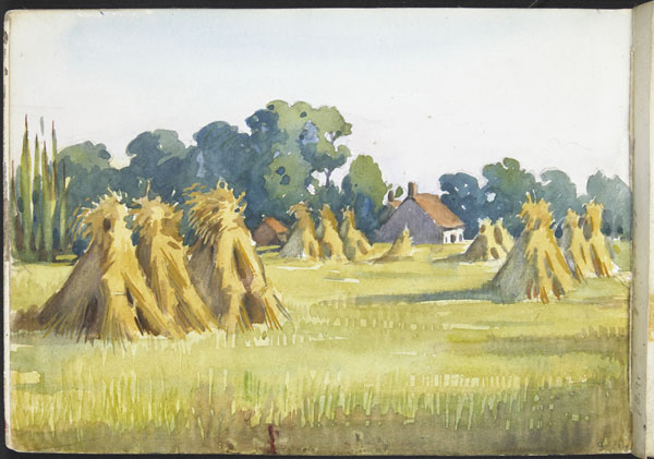 Landscape with buildings and haystacks (e008315439)
