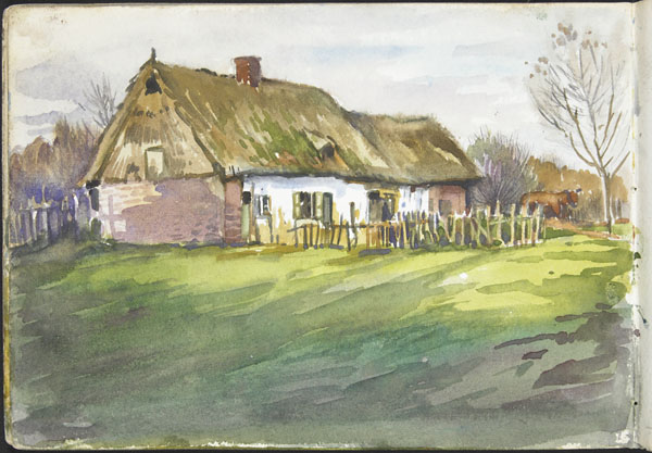 View of a thatched cottage