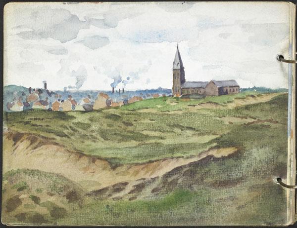 Église surplombant une ville depuis les dunes, Flandre française