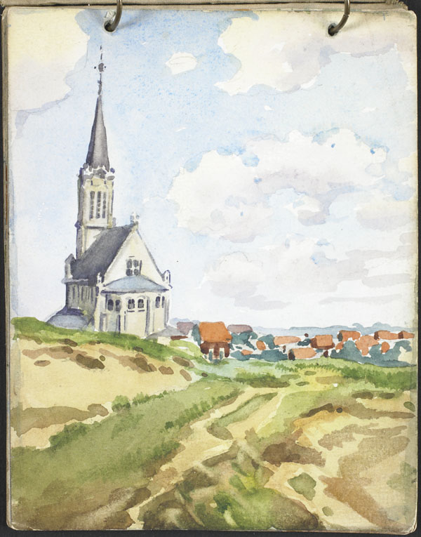 View of a city and a church from the dunes, French Flanders
