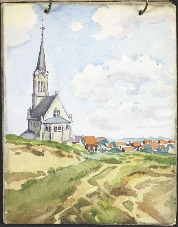 Vue d'une ville et d'une église depuis les dunes, Flandre française