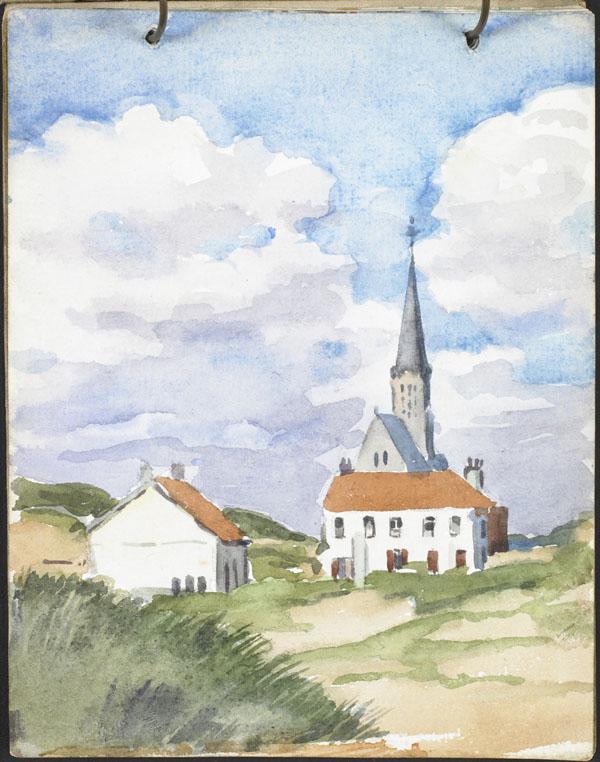 Église vue des dunes, Flandre française