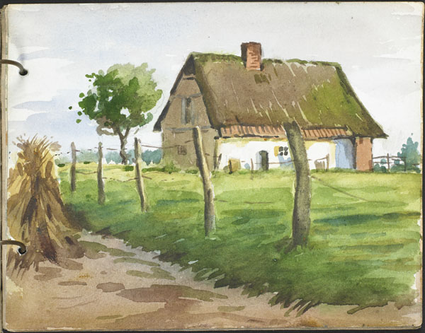 Thatched cottage in the countryside